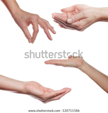 Human palm gestures collage over white background