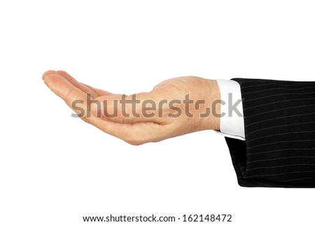Human palm, isolated on white background.