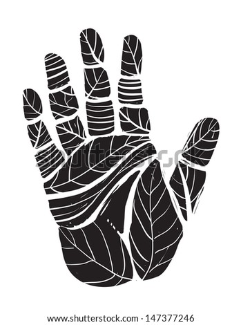 Human Palm with Leaves Ecology Illustration. Raster variant.