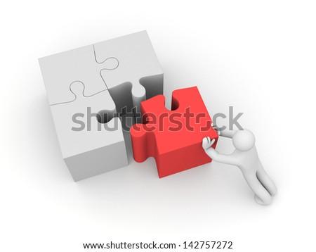 Human push puzzle - stock photo