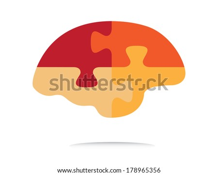Human puzzle shaped brain illustration, creative colorful design. - stock photo