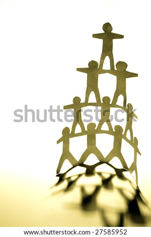 Human pyramid - stock photo