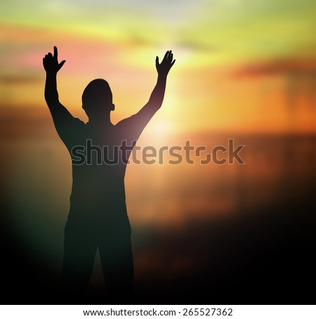 Human raised hands. Blur Cure God Hope Sky Man Dua Live Mercy Islam Alone Give Autism Hajj Light Muslim Allah Prayer Day Civil Black Right Drug Happy Easter World Refugee Nature Sport Olympic concept.