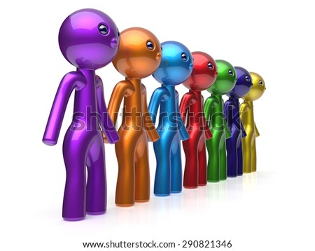 Human resource characters social network teamwork friends chain line people diverse friendship row individuality team seven different cartoon persons unity meeting concept colorful. 3d render isolated - stock photo