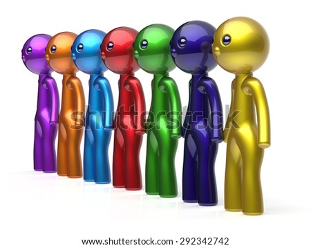 Human resource characters teamwork social network friends chain line people diverse friendship row individuality team seven different cartoon persons unity meeting concept colorful. 3d render isolated - stock photo