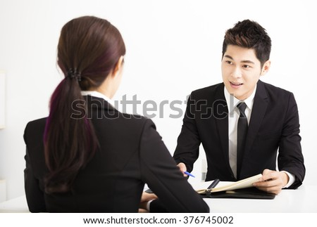 Human resource concept and Job interview - stock photo