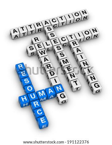 human resource cubes crossword puzzle - stock photo