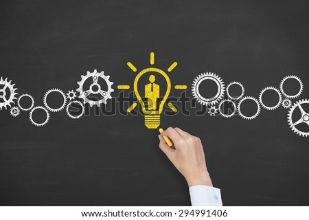 Human Resource Drawing on Blackboard  - stock photo