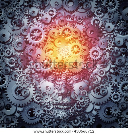Human resource intelligence business concept as a mind and face machine made of gears and cogs as a technology or psychology metaphor for invention and industry inspiration as a 3D illustration. - stock photo