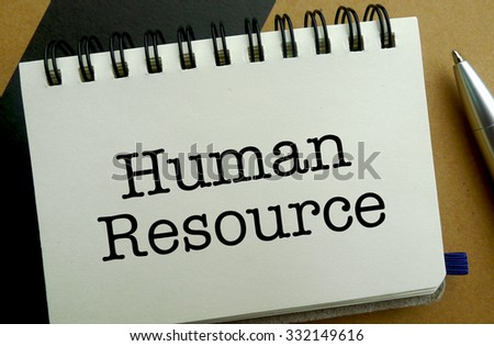Human resource memo written on a notebook with pen