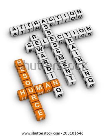 human resource (orange-white crossword series) - stock photo