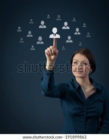 Human resources and social networking concept - female officer recruiter select new employee.