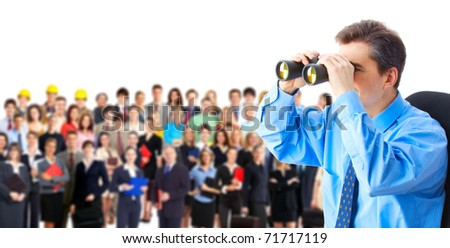 Human resources. Businessman and a large group of business people. - stock photo