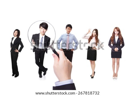 Human resources concept choosing the perfect candidate for the job model, asian people