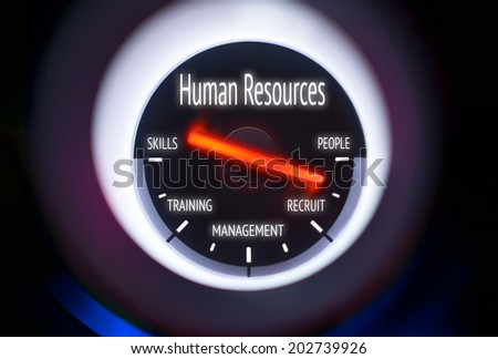 Human Resources concept displayed on a gauge - stock photo