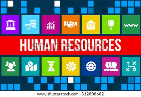 Human resources concept image with business icons and copyspace. - stock photo