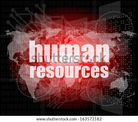 human resources digital touch screen interface, raster - stock photo