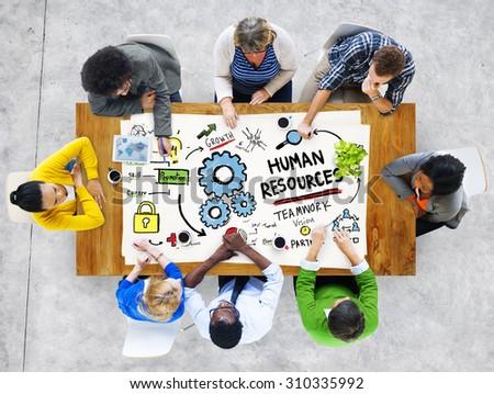 Human Resources Employment Job Teamwork People Meeting Concept - stock photo