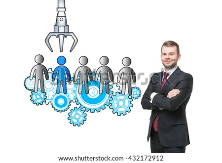 Human resources management and choice concept with confident businessman and sketch isolated on white background - stock photo