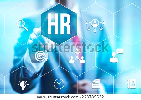 Human resources management concept business man selecting virtual interface - stock photo