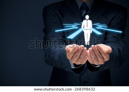 Human resources officer choose employee or team leader (CEO). Individual customer marketing and personalization concept. - stock photo