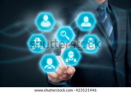 Human resources officer looking for employees. Personnel agent click to loupe to find employees represented by icons: manager, white collar worker, programmer, analyst, farmer, driver, manual worker. - stock photo