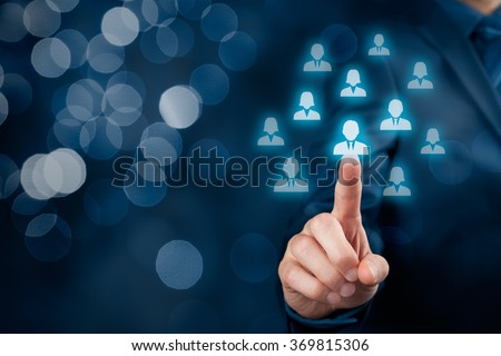 Human resources officer select employee or team leader (CEO). Individual customer marketing and personalization concept, bokeh in background.