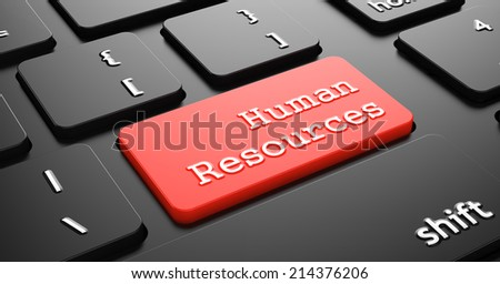 Human Resources on Red Button Enter on Black Computer Keyboard. - stock photo