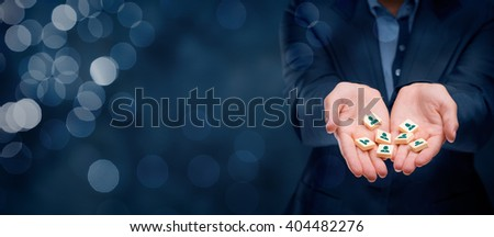 Human resources, sales force, customer care, customer relationship management (CRM), marketing segmentation and team building concepts. Wide banner composition with bokeh in background.