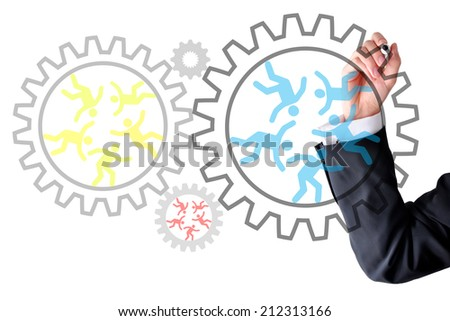 Human resources spinning gear box wheels - stock photo