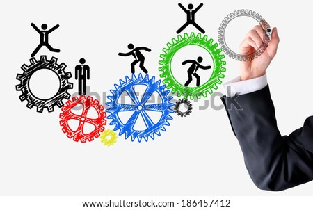 Human resources spinning wheels concept - stock photo