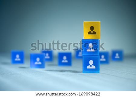 Human resources, team composition, team configuration, teamwork, cooperation and team leader (CEO) concepts.  - stock photo