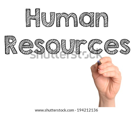 Human resources word cloud handwritten  - stock photo