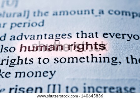 HUman rights concept in word tag . Selective focus in the middle of word - stock photo