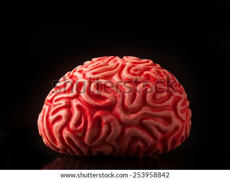 Human rubber brain isolated on black background. - stock photo