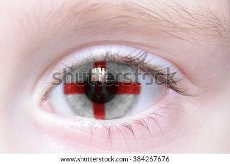 human's eye with national flag of northern ireland - stock photo