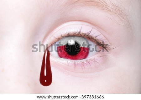 human's eye with national flag of poland with bloody tears. concept - stock photo