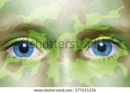 human's face with  military texture