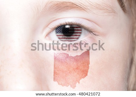 Human S Face With National Flag Of United States Of America And Ohio State Map Concept