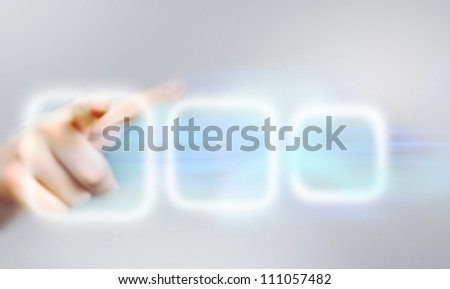Human's hand pushing the button. Choice concept
