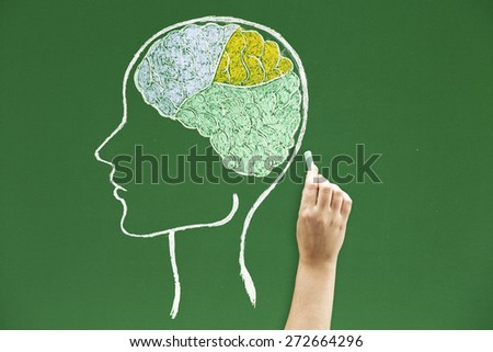 Human shape with brain Concepts and ideas on blackboards - stock photo