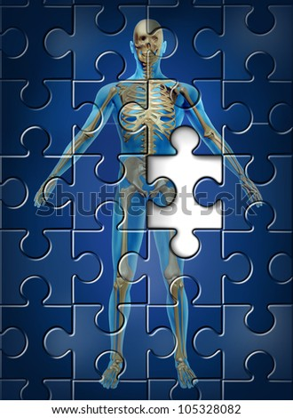 Human skeleton disease and osteoporosis of the hip bone concept with a puzzle texture and a missing piece as a medical and health care symbol of orthopedic and aging deterioration illness. - stock photo
