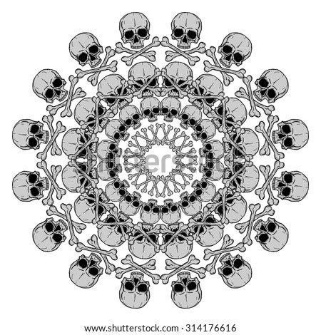 Human skull circular pattern isolated on white background. Freehand drawing. Raster version of the illustration. - stock photo