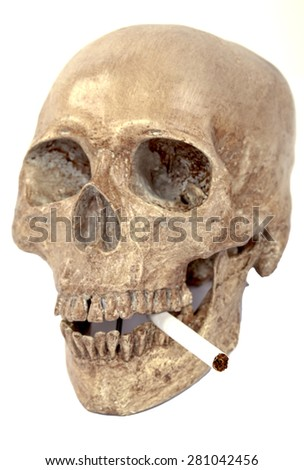 Human Skull with a cigarette on white background - stock photo