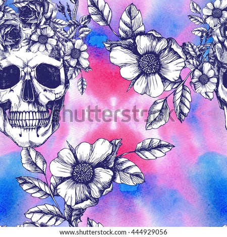 Human skull with flower wreath and roses. Los muertos. Raster seamless pattern in trendy style. Fashion illustartion. - stock photo