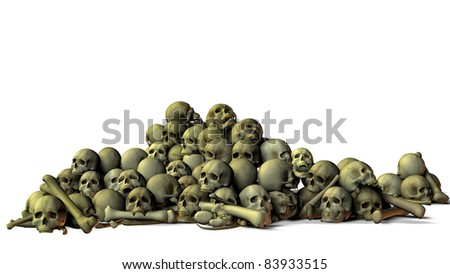 Human skulls and bones laid out and piled across the floor. Textured, broken, cracked old bones, Illustration on white background. Cutout clip art,