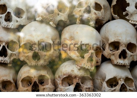 Human skulls at the Choeung Ek Genocidal Center (The Killing Fields), in Phnom Penh, Cambodia - stock photo