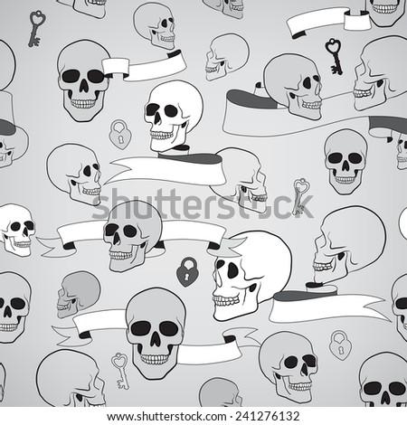 human skulls seamless pattern with ribbons, keys and heart shape lock - stock photo