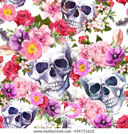Human skulls with flowers for Dia de Muertos holiday. Seamless pattern. Watercolor - stock photo