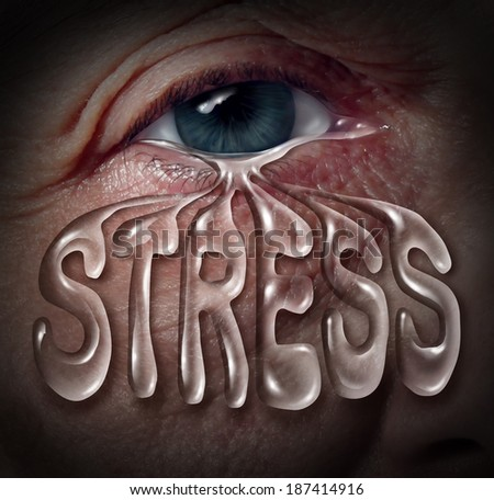 Human stress concept as an eye crying a tear drop that is shaped with letters as a metaphor for mental health problems as panic and emotional illness based on grief or chemical imbalance as anxiety. - stock photo
